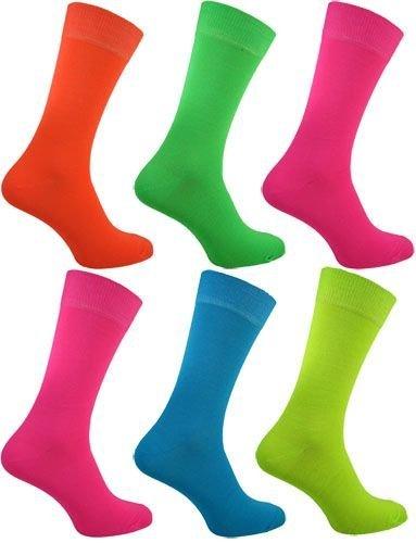 Boys Teddy Kostüm (Herren / Jungen 5er Pack 5 Farben Neon Socken Teddy Boy Rock N Roll Party Kostüm Verkleidung Größe)