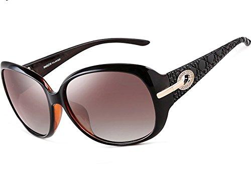 ATTCL Mode Polarisiert UV400 Plaid Oversize Damen Sonnenbrillen 6214 Braun - Damen Oversize-mode