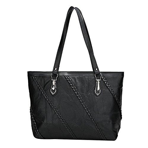 DCRYWRX Lässige Handtasche Leder Umhängetasche Hobo Großraum-Urban Style Handtasche Damen Geldbörse Schwarz,A (Geflochtene Griff Hobo)