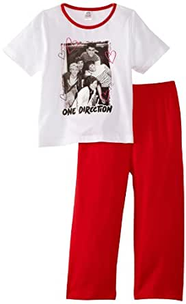 One Direction Girl's Black and White Photo Pyjama Set, Multicoloured (White/Red), 5 Years