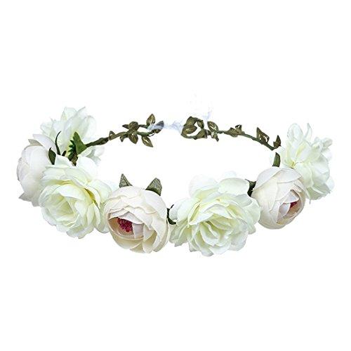 FORLADY Große rote Rosen-Blumen-Brautgirlanden-Bänder, Strand-Reise-Schönheits-Simulations-Blumen-Gurt-Strand-Kopf-Band-Schönheits-Göttin-Kranz