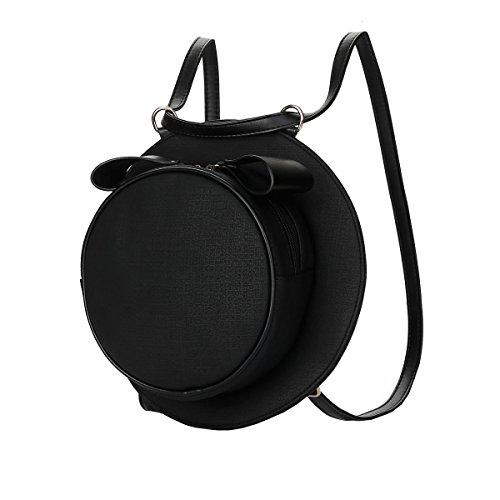 DISSA VS820 neuer Stil PU Leder Deman 2018 Mode Rucksackhandtaschen,275×75×275(mm) Schwarz