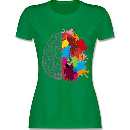 Boheme Look - Gehirnhälften grau & bunt - tailliertes Premium T-Shirt mit Rundhalsausschnitt für Damen Grün