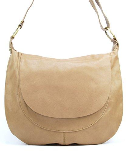 OH MY BAG Sac à Main en cuir souple femme porté bandoulière Modèle Perla (grand) Nouvelle collection TAUPE CLAIR
