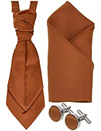 Mens Matching Pre-Tied Wedding Cravat, Ruche, Cufflinks & Pocket Square, Handkerchief, Hanky Set in 27 Colours *UK Seller*