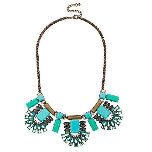 LUX Zubehör türkis blau grün antik Tribal Statement Halskette