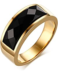 Asma 8mm 18K gold plated Agate Inlay ring for Men