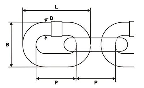 40m chaîne en acier galvanisé 4mm lien court A1