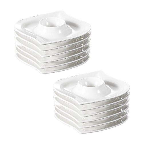 MALACASA, Série Elvira, 12 Pièces Coquetier en Porcelaine Blanc Oeuf Support