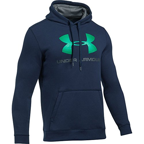Under Armour, Rival Fitted Graphic Hoodie, Felpa, Uomo, Blu (Midnight Navy/Graphite/Glass Green 410), M