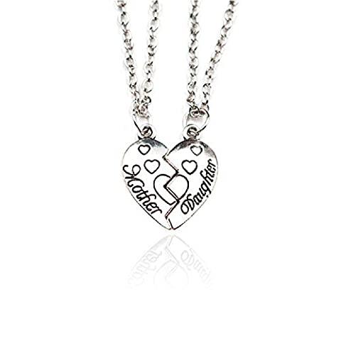 Mum Mother Daughter Family Best Friend Broken Love Heart Pendant Chain Necklace Jewellery Christmas Gift silver tone friendship necklace for 2 (Silver tome chain)