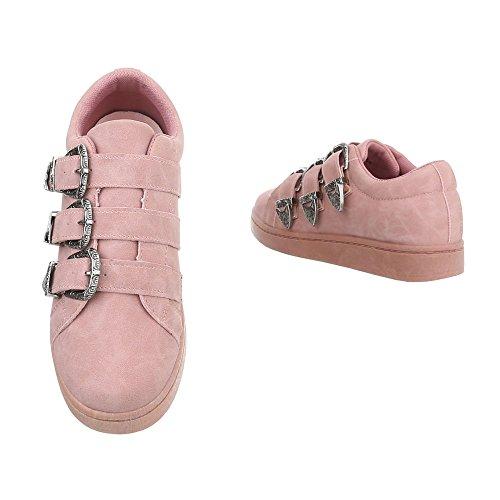 Ital-Design Sneakers Low Damenschuhe Sneakers Low Sneakers Klettverschluss Freizeitschuhe Pink