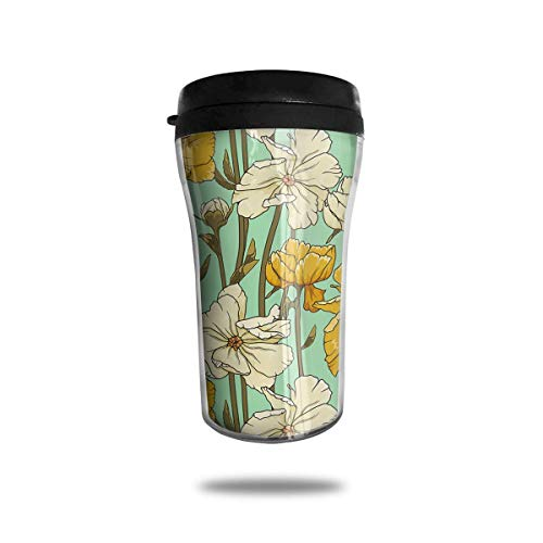Beautiful Daisy 8.5 Oz Tumbler-Vacuum Insulated Double Stainless Steel Water Bottle Travel Coffee Mug Cup Daisy Tumbler