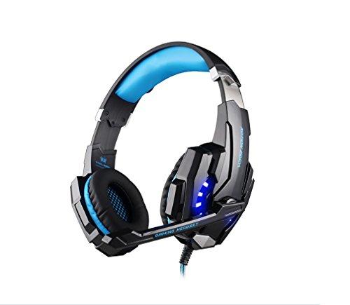 KOTION EACH G9000 USB 7.1 Sonido Envolvente Versión Auriculares Gaming con Micrófono LED Luz para PC (Negro+Azul)