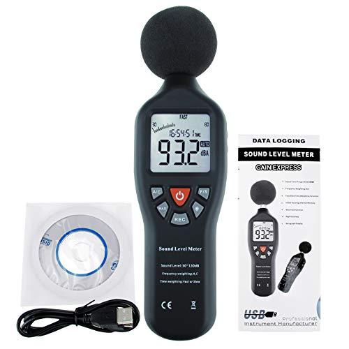 Professionelle Schallpegelmesser mit Hintergrundbeleuchtung Anzeige Hohe Genauigkeit Messung von 30dB-130dB (with Data Record Function)