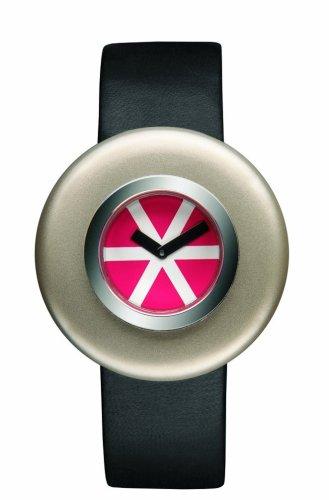 Alessi Ciclo AL 12003 - Reloj unisex de cuarzo, correa de piel color negro