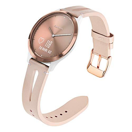 TRUMiRR Remplacement pour Vivomove HR Sport Femme Bracelet, Bande de Montre en Cuir véritable Sangle Bracelet Fermoir en Acier Inoxydable pour Garmin Vivomove HR Sport (Pas pour Vivomove HR Premium)
