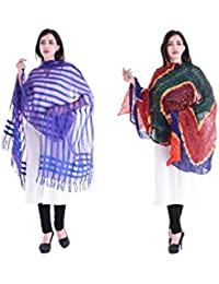Apratim Women Bhagalpuri Silk & Cotton Dupatta Combo Pack Of 2 Set - B075C4HZ6S