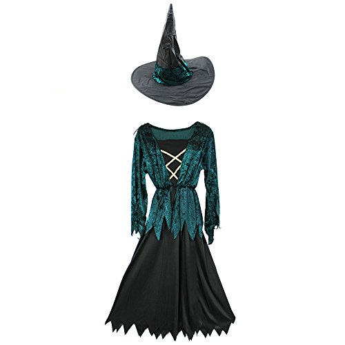 com-four Hexe Kinder-Kostüm mit Hexenhut Set für Fasching, Karneval, Halloween (7-9 Jahre)