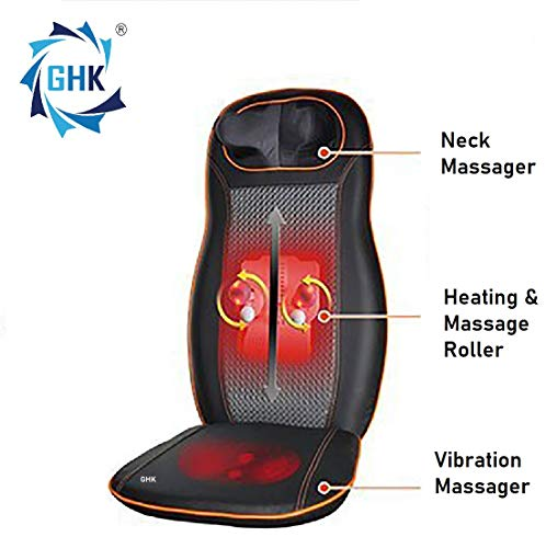 GHK H75 Full Back,Neck and shoulder Kneading Massager with Vibration on Thigh for Car, Home & Office Use Car Charger & Electric Charger Inclusive
