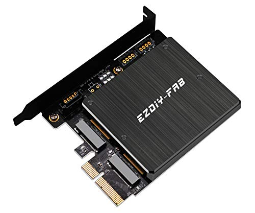 EZDIY-FAB Dual M.2 Adapter, M.2 PCIe NVMe und PCIe AHCI SSD für PCIe 3.0 x4 und M.2 SATA SSD für SATA-III Adapterkarte