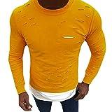 ZIYOU Männer Muskel Pullis Langarm T Shirts, Herren Basic Rundhals Sweatshirt Loch Shirt Tops (L,Gelb)