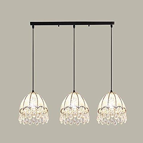 Moderne einfache ästhetische Kristall drei Bar Lampe, Restaurant Lichter, Jane Europe pastorale kreative Kronleuchter ( größe : 57.5*26cm )