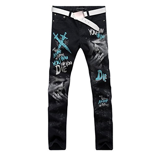 jeansian Herren Mode kausale Hose Jeans MJB023 Black W33