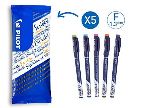 Pilot Frixion Fineliner, Radierbarer Fineliner, 5er Set (Hellgrün, Hellblau, Pink, Orange, Violett) -