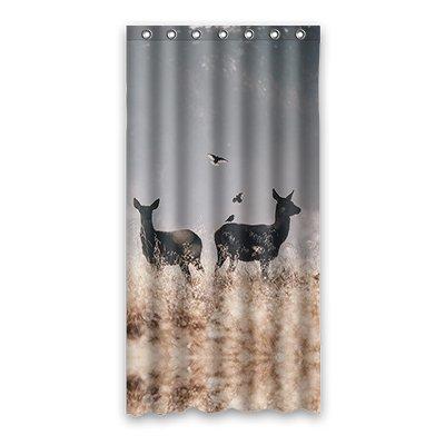 Dalliy Brauch kunst farbe hirsch Wasserdicht Polyester Shower curtain Duschvorhang 90cm x 183cm (Peach Farbe Duschvorhang)