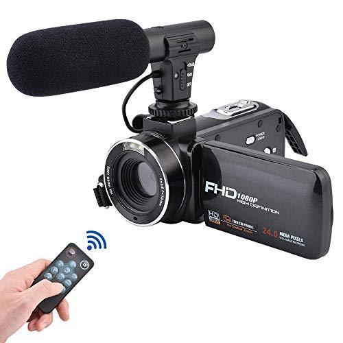 Videokamera, 3,0-Zoll-IPS-Touchscreen-FHD-1080P-Vlogging-Kamera mit Blitzlicht, 24-Megapixel-Digitalcamcorder mit externem Mikrofonlautsprecher und 16-facher WiFi-Digitalzoomkamera