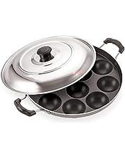 iVBOX Eco-Series Non-Stick 12 Cavity Appam Patra Paddu Paniyarakkal Maker Chatty Paniyaram Pan Ponganal Baati Baking Pot with Steel Lid(Aluminium, Non-Stick)