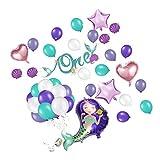Lvcky 57PCS Meerjungfrauen-Party-Dekoration für den 1. Geburtstag eines Mädchens – EIN Geburtstagsbanner, 55 Luftballons mit 1 Rolle Laser Silberschnur, perfekt für Baby Mädchen Kindergeburtstag
