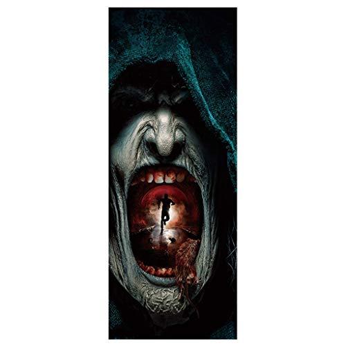 Zlolia-Halloween-Aufkleber für den Urlaub, 3D-Geister-Horror-Motiv, für Wohnzimmer, lustige Türspiegel, Vinyl B