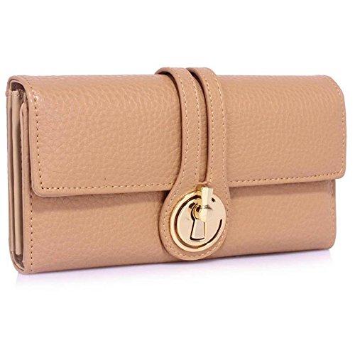 LeahWard® Genuine Kunstleder Geldbörsen Brieftaschen Mode nett Groß Geldbörsen Tasche nackt 1078
