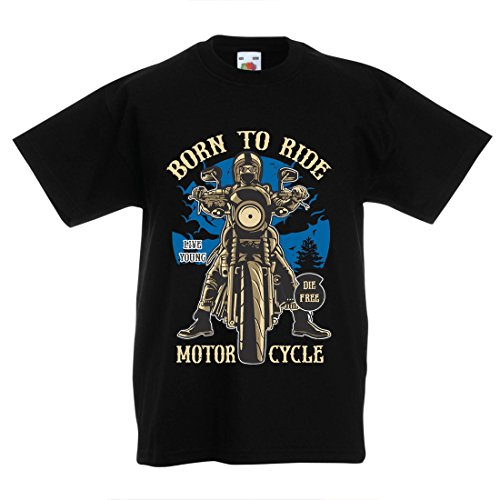 en T-Shirt Live Young - Die Free - geboren, Motorrad zu fahren, Geschenkideen für Biker, inspirierende Slogans (7-8 years Schwarz Mehrfarben) (Lego Halloween-messe)