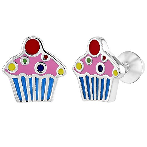Ohrringe für Mädchen, 925er-Sterlingsilber, Emaille, bunte kleine Cupcakes, Schraubverschluss