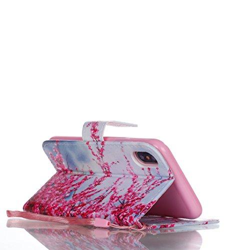 OuDu Coque iPhone X Housse Portefeuille Etui à Rabat en PU Cuir Coque Souple Ultra Mince Housse de Protection Etui Anti Choc Anti Rayure Leather Wallet Case Coque de Fonction de Supporter avec Fermetu Pêche