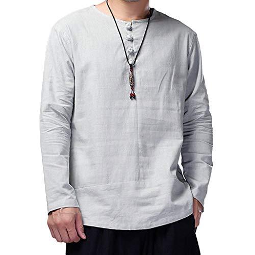 UFACE Baumwolle und Leinen Herren Langarm Shirt Top Bluse Retro Einfacher Herren Baumwolle Leinen lose Feste Langarm Kaft Thai Top Shirt Pullover Bluse