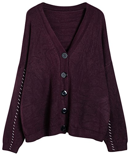 vogueearth Fashion Damen's Lang Hülse Button Down Knit Sweater Sweatshirt Cardigan Strickjacke Violett - Button-down-pullover-strickjacke