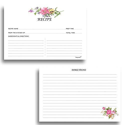 pt-Karten, doppelseitig Rezept Karten mit genug Platz zum Schreiben Rezept Ideen für Hochzeit und Brautschmuck Dusche-50Pack, 8,9x 15,2cm, dick tonkartons Floral Recipe Cards ()