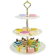 Hetoco 3 Pisos Blanco Dorado Bandeja de Tartas Torre de Postres Soporte para Tartas Cupcakes Food