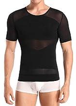 Men Body Shaper Waist Trainer Shapewear Gynecomastia Chest Tummy Control T Shirt Compression Tops Posture Corrector Undershirt(M) Black