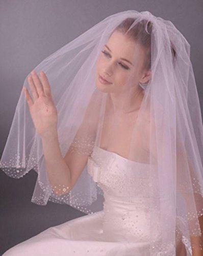 LadyMYP© Brautschleier mit Deko aus Strass, Perlen, Blüten, weiß/ivory (Ivory(Hellcreme))