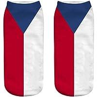 OHlive Suave Las Mujeres de la Bandera Nacional 3D Imprimieron Las Zapatillas de Deporte Calcetines Calcetines del Tobillo (1 par-GQ09-One Size) (Color : GQ09, tamaño : Talla única)