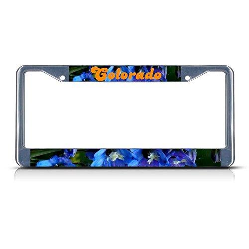Blue Columbine Colorado Blumen-Kennzeichenrahmen, Metall, 2 Löcher, perfekt für Männer und Frauen, Auto-Garadge-Dekor Blue Moon Coffee