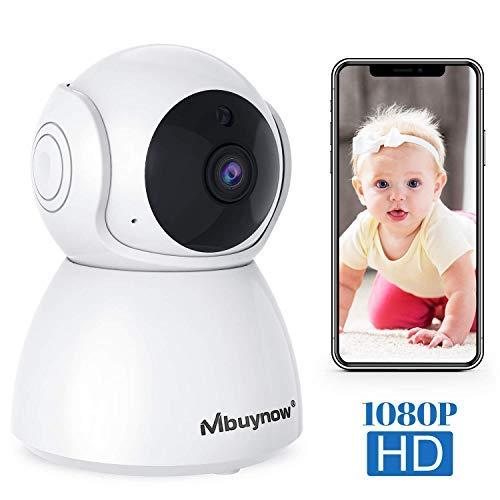 Caméra de Surveillance WiFi,Mbuynow Caméra IP WiFi 1080P Caméra Moniteur pour Bébé avec Détection de Night Vision,Audio Bidirectionnel Rotatif à 355 °,Alerte de détection de Mouvement