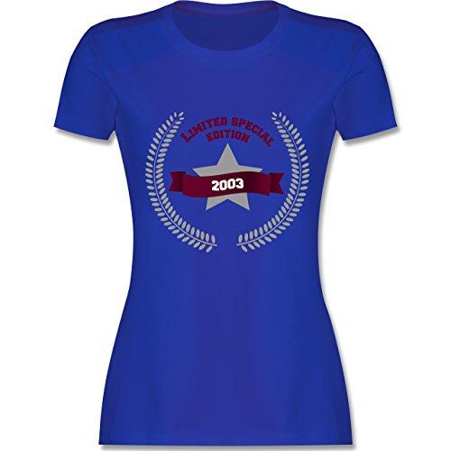 Shirtracer Geburtstag - 2003 Limited Special Edition - Damen T-Shirt Rundhals Royalblau