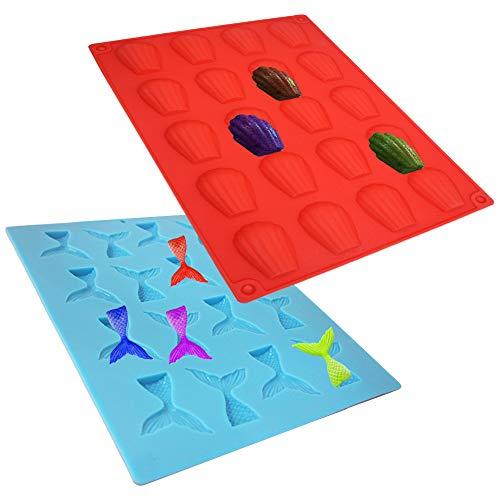 2Stück Seashell Silikon Form Meerjungfrau Schwanz Schimmel, danzix Ice Cube Schalen, Backform Werkzeug für Dekorieren Seifen Schokolade Kuchen Candy Ice (blau + rot) - Huhn Silikon-schimmel