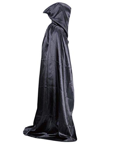 Kapuze Robe Schwarze Mit (AIYUE® Halloween Bekleidung mit Kapuze Robe Umhang Henker Kutte Tod Mönch schwarz Ritter Cosplay Kostüm Hooded)